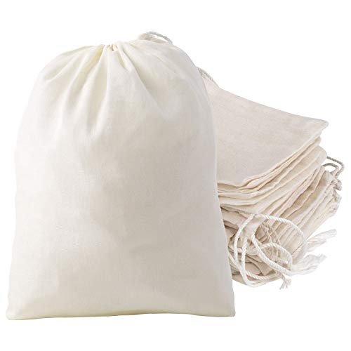 Lucky Monet 100Pcs Cotton Drawstring Bags Muslin Bag Reusable Tea Bag Pouch for DIY Craft Home Kitchen Coffee/Spice/Tea/Herbs/Soup Bags, Natural Color (3 x 4 Inches)