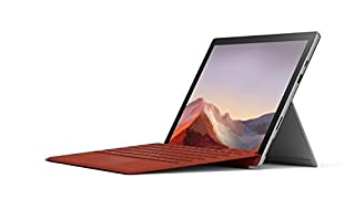 "Microsoft Surface Pro 7 12.3"" Tablet (Platinum) - Intel 10th Gen Quad Core i5, 8GB RAM, 128GB SSD, Windows 10 Home, 2019 EditionMicrosoft Surface Pro Signature Type Cover - Red (B081TWKTL6) 