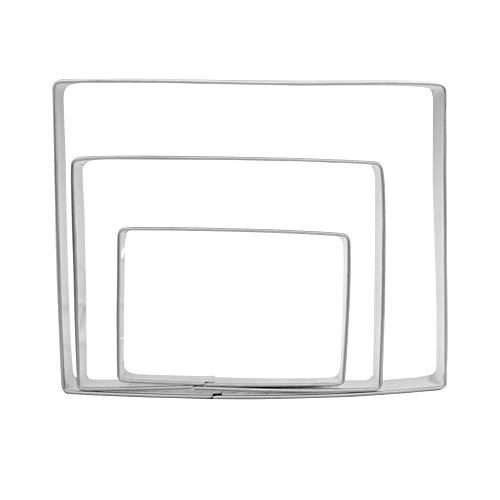 Lot de 3 emporte-pièces rectangulaires en acier inoxydable - 12,7 cm, 10,2 cm, 7,6 cm