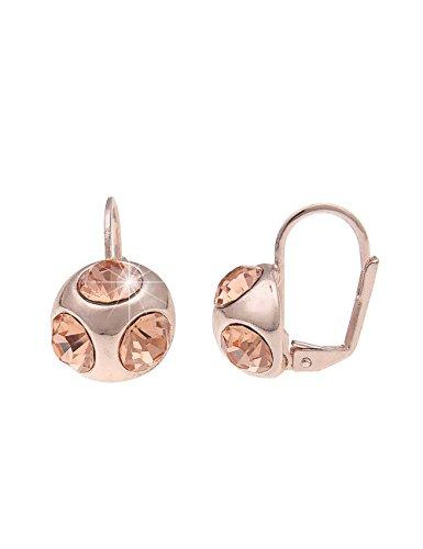 Leslii hängende Damen-Ohrringe Ohrhänger Glitzer Kugel Rosé rosegold kupfer Strass-ohrringe goldene gold