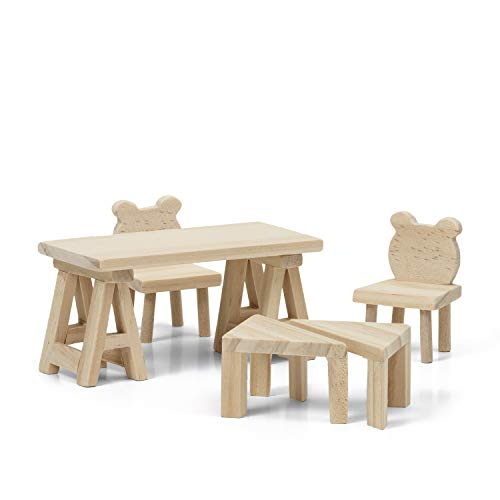 Lundby 60-906400 - Bastelset DIY Esszimmer Holzmöbel zum selber gestalten - 7-teilig - Puppenhauszubehör - Esstisch, Stühle, Beistelltische - Zubehör - ab 4 Jahre - 11 cm Puppen - Minipuppen 1:18