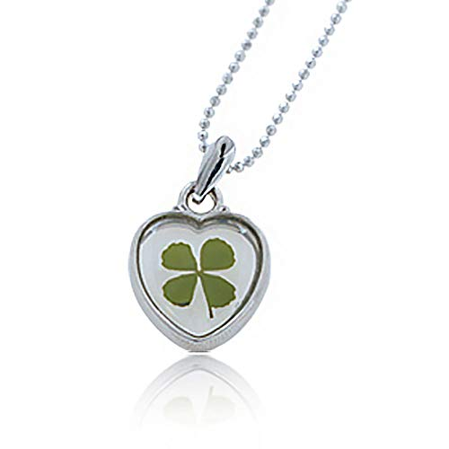 Stainless Steel Real Four (4) Leaf Clover Good Luck Shamrock Heart Pendant Necklace, 16-18 inches