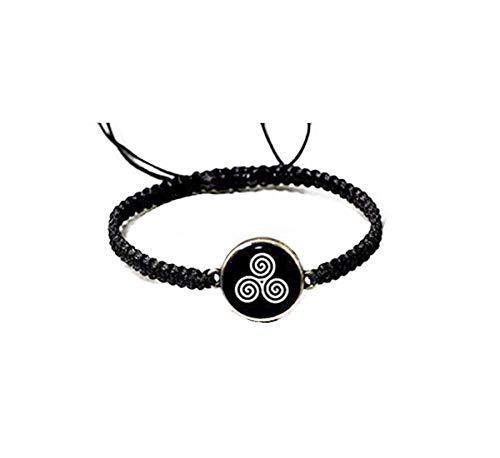 Pink rose Celtic Triple Spiral Bracelet, Celtic Jewelry, Black and White Resin Bracelet ,Triskele Bracelet Unisex Bracelet ,Irish Celtic Tribal Jewelry