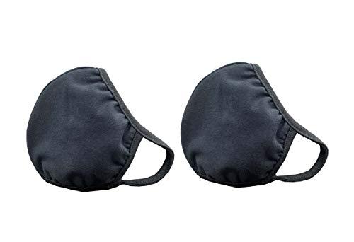 2 Pcs Premium Cotton Double Layer Face Masks Washable Reusable Dust Fashion 3D Design Unisex Mouth Mask (Black)