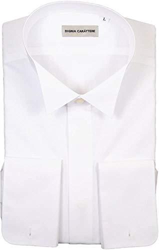 礼装倶楽部 ウイングカラーシャツ 白蝶貝カフスボタン付き ダブルカフス 比翼 M871H58 (3L)
