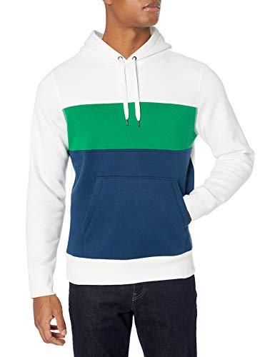 Amazon Essentials Men's Standard Fleece Pullover Hooded Sweatshirt, Blue/Green/White, X-Large