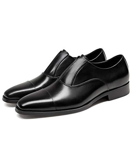GIFENNSE Men's Dress Shoes Leather Business Easy Wear Oxford Formal Men Shoes Black 10.5