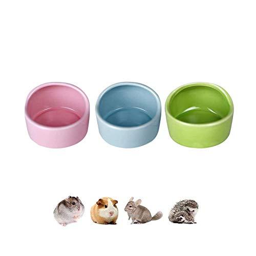 3 Stück Hamster Keramik Futterschalen, Keramik Futternäpfe für Hamster, Anti-Biss Keramik Futterschalen, Meerschweinchen, Geschirr, Rennmaus Eichhörnchen, Feeder, Essbecken, Pink, Blau, Grün