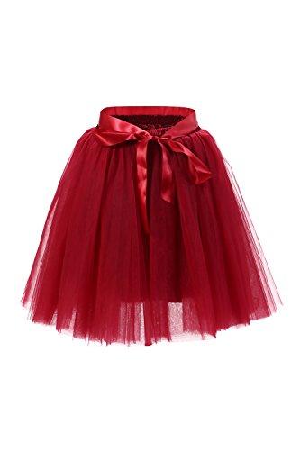 Babyonline® Damen Prinzessin Falten Rock Vintage Kleid Spitzen Rock Midirock Ballettrock Tüllrock Unterrock Knielang, Wein Rot, One Size / Einheitsgröße