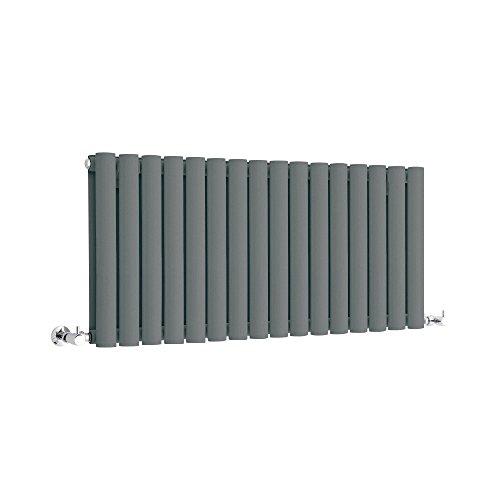 Hudson Reed Heizkörper Revive - Horizontaler Designheizkörper in Anthrazit - Doppellagig - Platzsparendes Profil 400 mm x 1000 mm