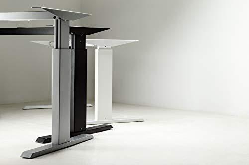 Höhenverstellbarer Schreibtisch in Silber Nur Tischgestell Ergonomisch Elektrisch Bürotisch Workstation Arbeitszimmer ALUFORCE 140 Ohne Schreibtisch (Silber)