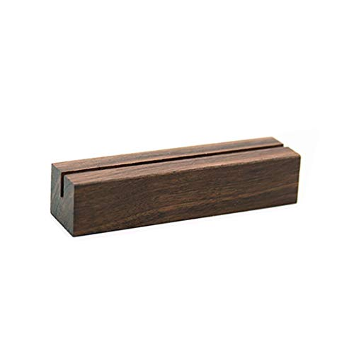 UNIQOOO 20 Pack Rustic Acrylic Sign Holders   Walnut Wood Table Numbers Display Stands   Place Card Holder, Perfect for Retail Shop Wedding Dinner Party Events Decoration