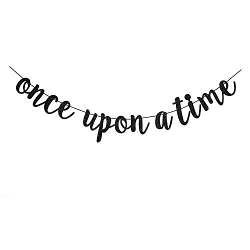 Once Upon A Time Banner, Black Sign Garlands for Bridal Shower, Wedding Engagement, Engaged, Birthday, Bachelorette Party Decors Supplies