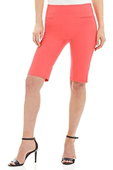 Rekucci Women s Ease into Comfort Pull-On Modern City Shorts  18 Coral