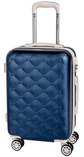 Set Trolley Bagaglio a mano Valigie in ABS rigide e leggere con 4 Ruote ideale per cabina e stiva Omologato Viaggi Low Cost - (Blu e Bianco, Set 1 Tro
