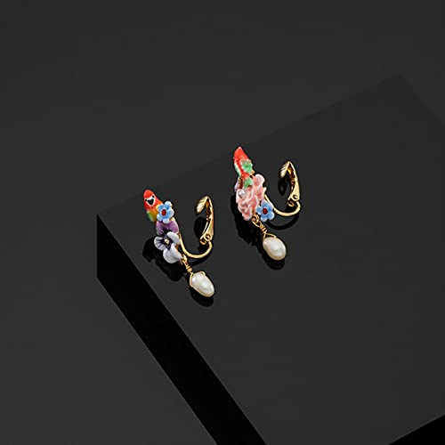 GHJGHJ Naturali Orecchini d'oro per la Perla d'Acqua d'Acqua d'Acqua Dolce per Perle d'Acqua Dolce Orecchini (Main Stone Color : White, Metal Color : Clip Earrings)