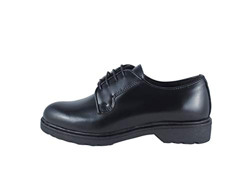Derby - Zapato de mujer liso de piel, con cordones, fabricado en Italia, Ischia cepillado, negro Negro Size: 38 EU