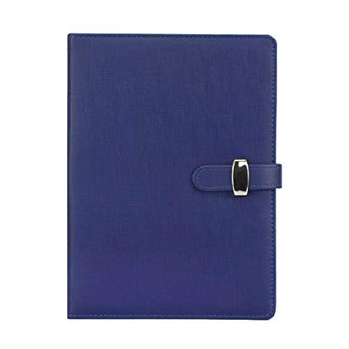 Nachfüllbares Notizbuch, PU-Leder, lose Blätter, Notizblock, klassisch, liniert, mit Tasche und Stifthalter, für Geschäftstreffen, Reisetagebuch (B5, Blau)