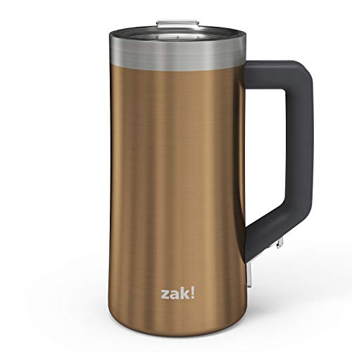 Zak Designs Creston Vacuum Insulated Stainless Steel Stein Mug with Press-In Lid and Splash-Proof Design, Includes Built-In Bottle Opener, Perfect for Indoor/Outdoor Activity (25oz, Copper, BPA Free)