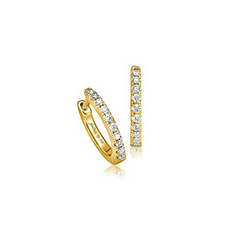 Juwelier Gelber Diamant Creolen mit 18 Brillanten 10mm Durchmesser (Gelbgold)