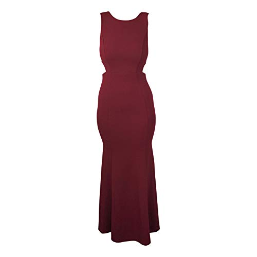 Aakaa Womens Fitted Evening Gown Burgundy Small