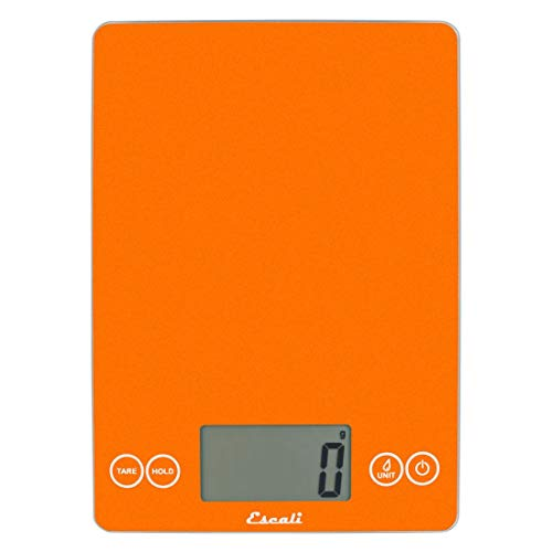 """Escali Arti Glass Digital LCD Display Kitchen, Office, Baking Herb Scale w/Nutrition and Calorie Counting Feature, 15lb Capacity, 9 x 6.5 x .75"""", Orange Sol"""