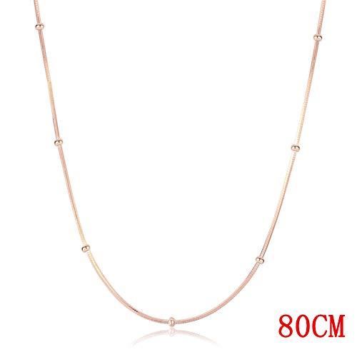 AMTBBK 925 zilveren ketting, stoeprand ketting 35-80Cm dun Rose goud kleur slang kralen ketting kettingen voor vrouwen meisjes meisjes Kids sieraden
