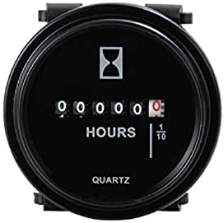 Jayron AC 110V a 220V Medidor de Horas de Cuarzo Redondo,Instalación a Presión,Temporizador Mecánico para Tractor de Césped,Generador,Carretilla Elevadora, ATV,Motonieve,Moto de Cross