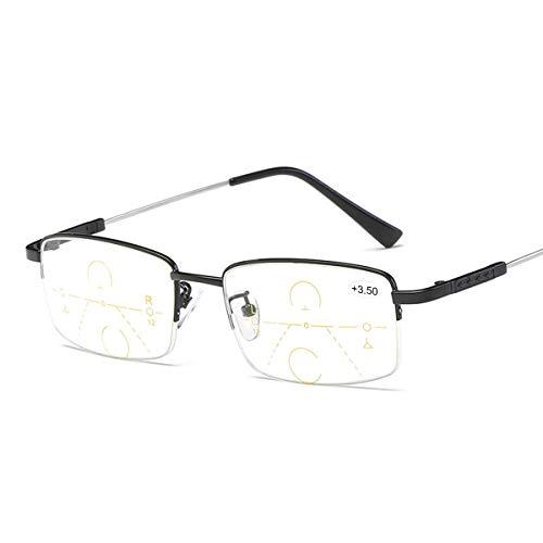 Progressives Multifokal Lesebrille Blaulichtfilter Brille Computerbrille für Frauen Männer Anti Müdigkeit Multi Fokus Intelligenter Zoom Nah und Fern Titanlegierung Vergrößerungs Presbyopie Leser