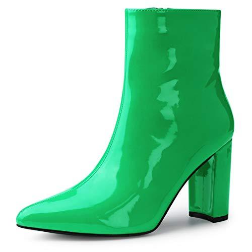 Allegra K Women's Chunky Heel Pointed Toe Green Zipper Ankle Boots - 10 M US