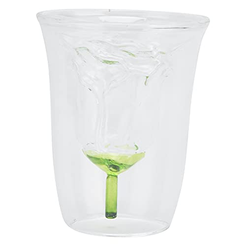 Copa de vino, taza de copa de cóctel en forma de flor de rosa de doble capa para fiesta de bar (180 ml)