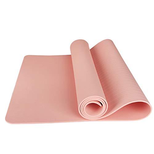 LITIAN Verdickte Anfänger Yoga-Matte TPE Verbreiterte Yoga-Matte Anti-Rutsch-Fitnessmatte (185 * 80 * 0,6 cm + Netto-Bag + Bündel Seil) Pink