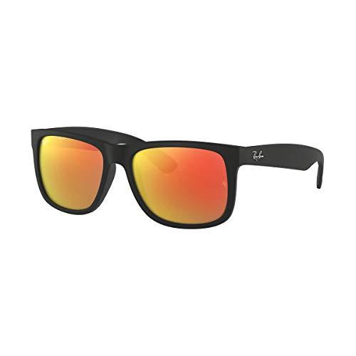 Ray-BanRB4165-03 - RB4165 Justin - anteojos de sol rectangulares Mujer , Negro (Goma negra/espejo naranja.), 55 mm