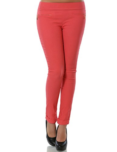 Damen Hose Treggings Skinny (Röhre weitere Farben) No 13997, Farbe:Koralle;Größe:42 / XL