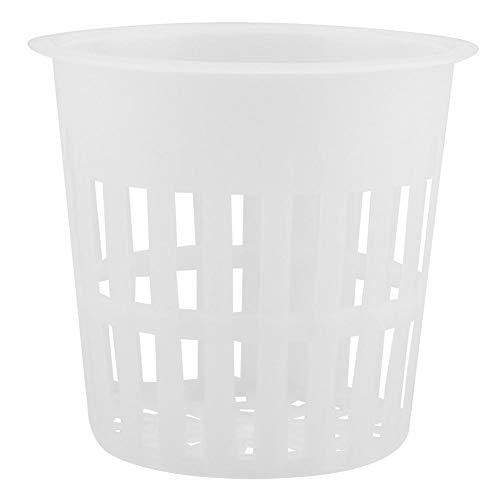 Ymiko 10 Tazas de Malla con Ranuras para jardín, Maceta de Red hidropónica, Canasta de plantación de plástico para hidroponía, aeroponía, orquídeas (Negro/Blanco)(Blanco)
