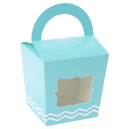 [24 stks] Nog één Mini Cupcake Dozen Individuele Containers met Handvat en PVC raam, Wegwerp Kraft Papier Cupcake Houders (Nieuw Blauw)