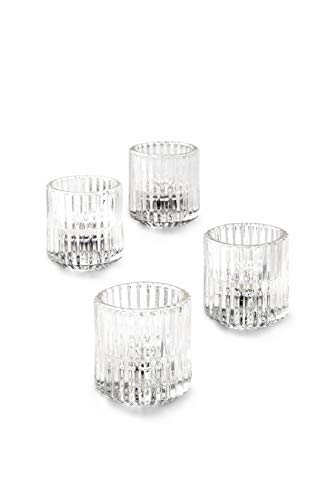 Serene Spaces Living Set of 4 Clear Ribbed Glass Votive Holders, Perfect for Weddings and Home Décor, Measures 2.25' Tall and 2' Diameter