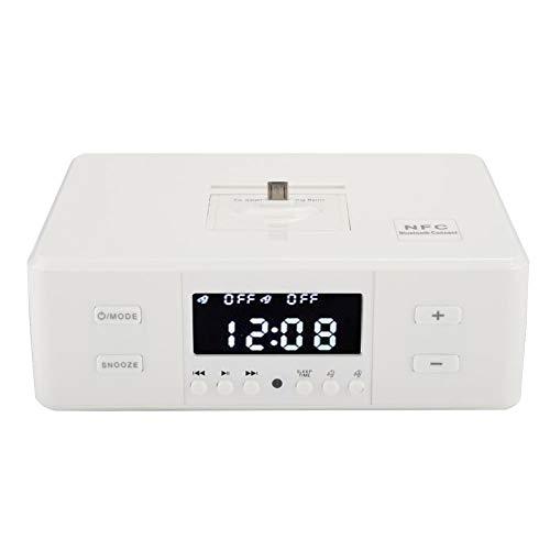 Denash Bluetooth-Lautsprecher, D9 3-in-1-Wecker USB-Ladewiedergabe FM-Stereo-Radio Bluetooth-Lautsprecher, benutzerfreundliches Funktionsdesign, 110-240 V(Weiß)