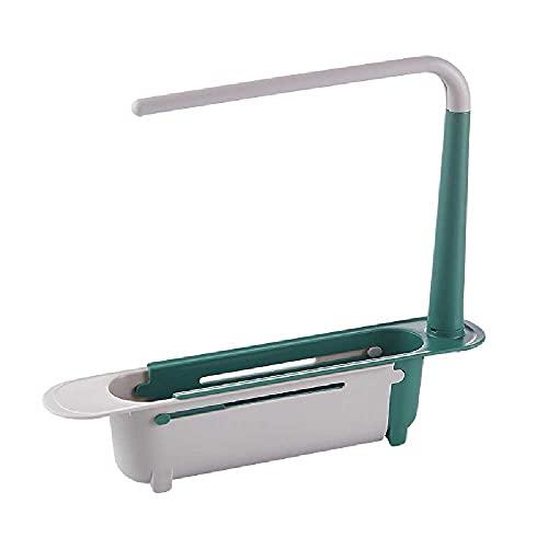 N\C Estante telescópico para fregadero de cocina, escurridor de fregadero, esponja para fregadero, fregadero, fregadero, cocina, colgador de paño (verde)