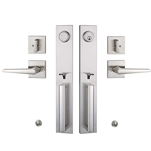 Double Door Handlset for Front Door Brushed Nickel Finish (Keyed Entry Handle and Dummy Hanlset Set),MDHST2016SN-DOUBLE-1