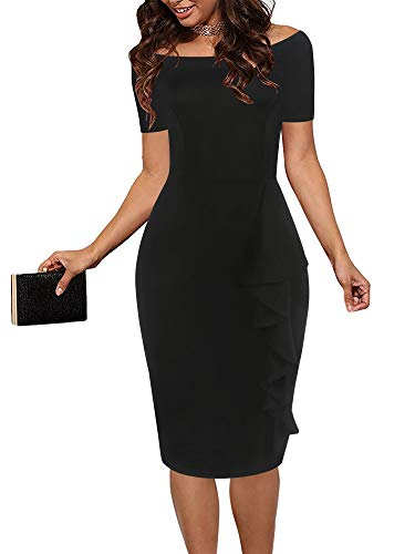 oxiuly Women's Chic Off Shoulder Ruffle Hem Party Cocktail Bodycon Pencil Dress OX298 (M, Black Solid)