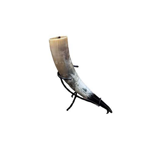 Hornerey Trinkhorn T05S Vikingo de 0,5 l con Soporte de Hierro Forjado, Cuerno Medieval para Beber, methorn, Larp