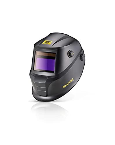 "ESAB 0700000490 SAVAGE A40 Black Auto-Darkening Welding Helmet, External Shade Adjustment, Four Arc Sensor Auto Darkening, 3.93"" x 1.96"" True Color Viewing Lens, Sensitivity/Delay Control"