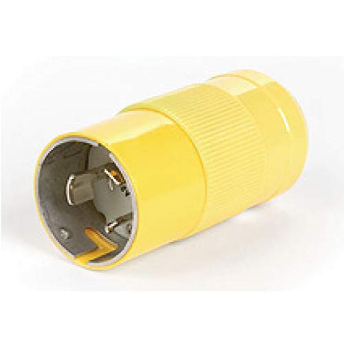 Woodhead CS6364N Safeway Connector, Industrial Duty, Locking Blade, 3 Poles, 4 Wires, California Style Configuration, Nylon, Yellow, 50A Current, 125/250V Voltage