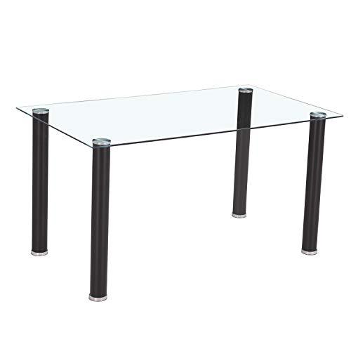 HomeSouth - Mesa de Comedor Negra, Mesa de Cristal para Cocina, Medidas Mesa Moderna salón: 140x80 cm Ancho