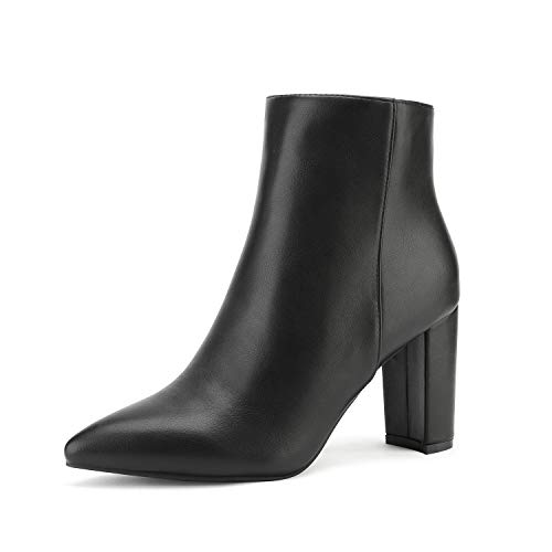 DREAM PAIRS Women's Black Pu Chunky Heel Ankle Booties Pointed Toe Short Boots Size 8 B(M) US Sianna-1