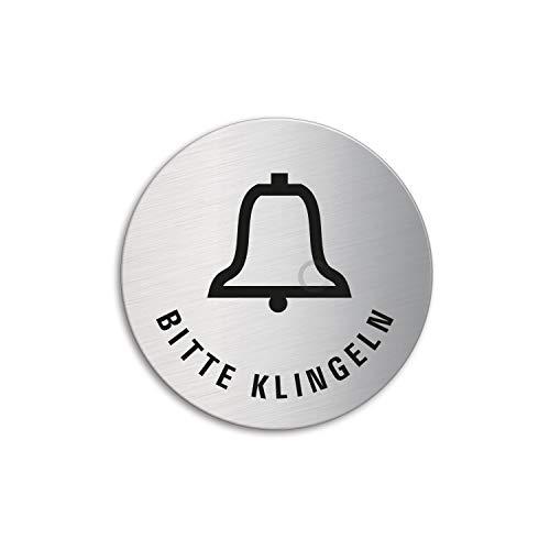 Schild - Bitte klingeln | Türschild aus Edelstahl Ø 60 mm selbstklebend Ofform Design Nr.7168