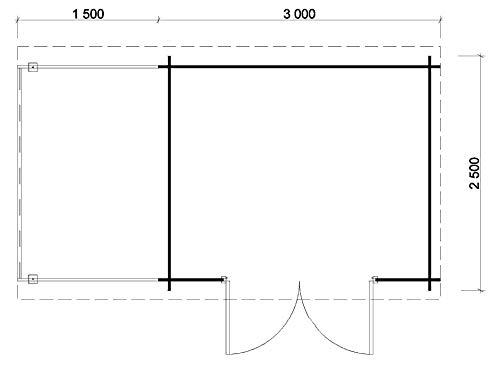 Alpholz Gartenhaus Maria mit Schleppdach 450 x 250 cm