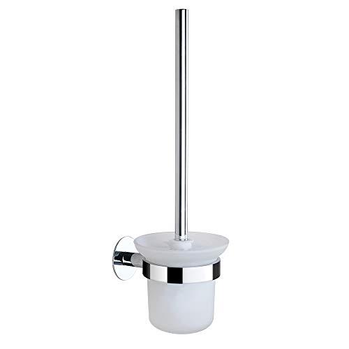 Hoomtaook WC Bürste Ohne Bohren Toilettenbürste WC Bürste WC Bürstengarnitur Ohne Bohren, Edelstahl und Glas, Das Verchromt