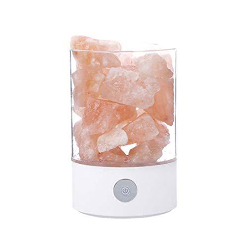 Natürliche Steinlampe, wiederaufladbar, über USB wiederaufladbar, Kristallsalz-Licht, Ionisator, Nachtlicht, warmes, bernsteinfarbenes Licht, energiesparend